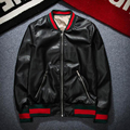 Diseño de moda Bordado Tigre Unisex Chaqueta de Bombardero 2016 Para Hombre PU Cuero de La Motocicleta Chaquetas Piloto TC190