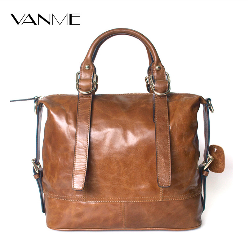 Europe Retro Oil Leather Women Bag Genuine Leather Large Capacity Leather Handbag The First Layer of Cowhide Shoulder Bag polo women golf club clothing bag handbag nylon first layer of leather