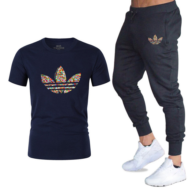 2019Summer Hot Sale Men's Sets T Shirts+pants Two Pieces Sets Casual Tracksuit new Male  Casual Tshirt Gyms Fitness trousers men