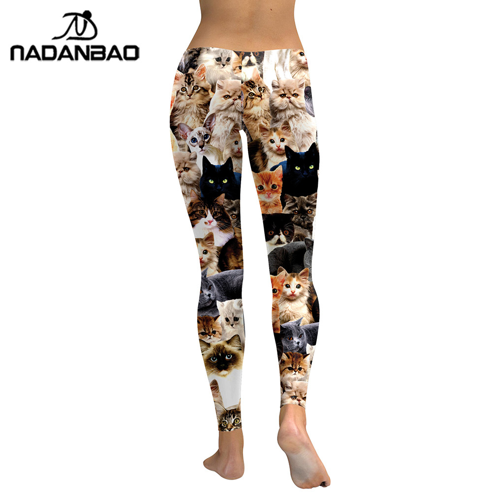 Image 3 - NADANBAO 2019 Women Leggings Lovely Cat Hologrephic Digital Print Fitness legging High Waist Workout Pants Casual Street Leggins-in Leggings from Women's Clothing