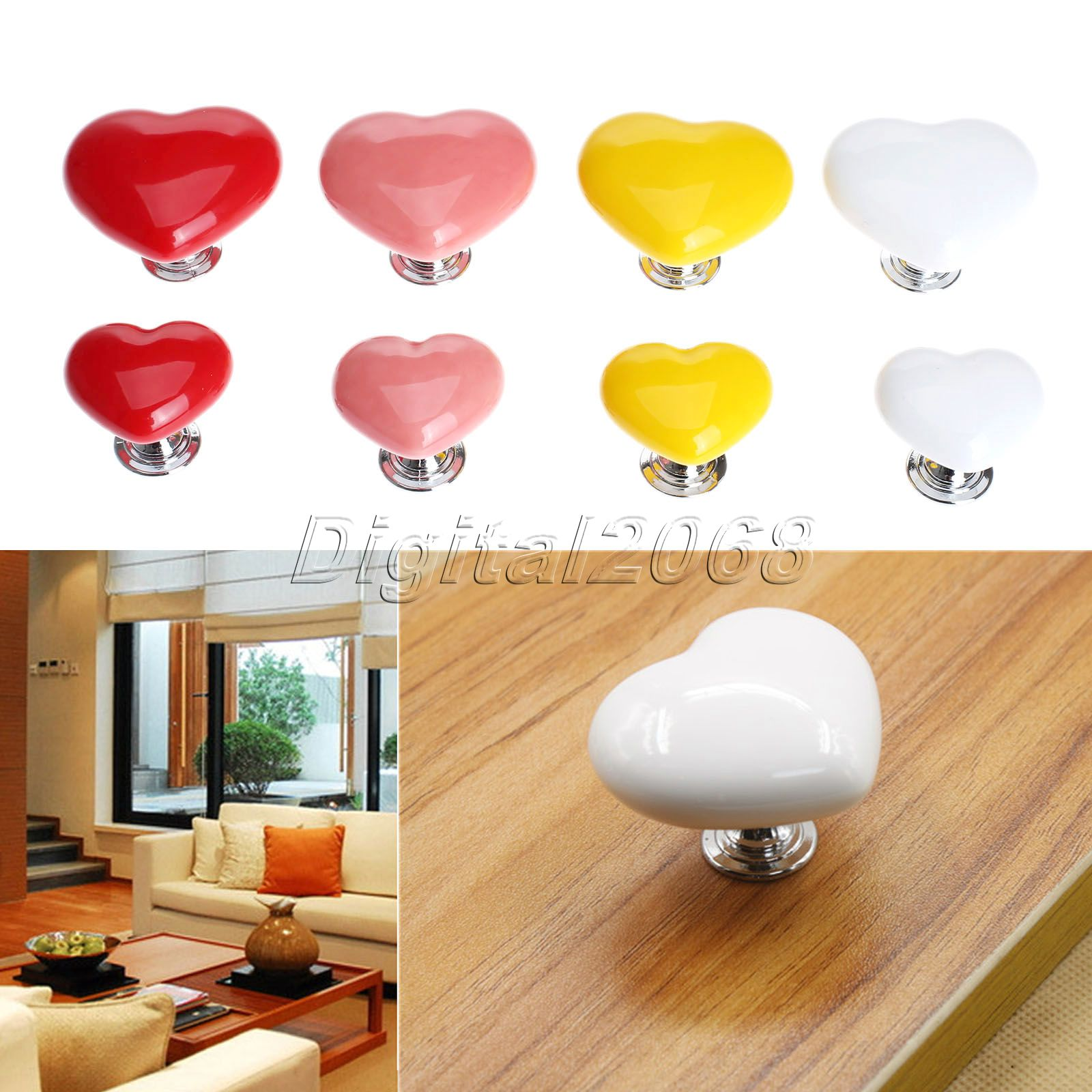 Discount Kitchen Cabinet Pulls Ceramic 8 Colors Heart Shaped Handles And Knobs Door