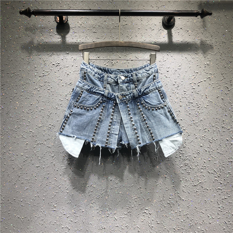 [EWQ] 2020 Spring Summer New Patter Denim Patchwork Fake Two Piece Heavy Work Beaded Edge High Waist Loose Shorts AG02605XL