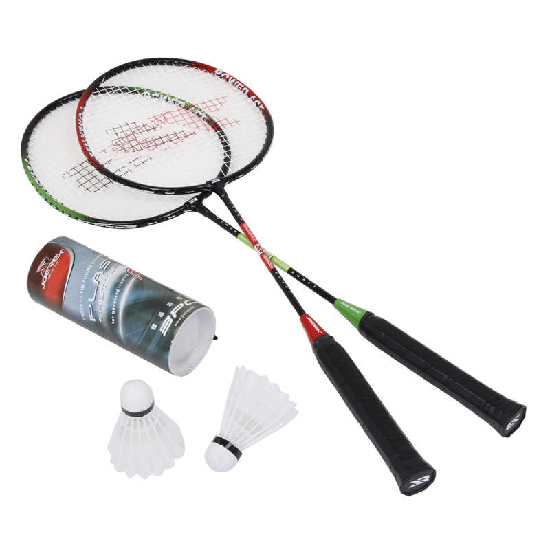 2pcs Joerex Badminton Racquet Combo super junior Steel-Alloy T-Joint Badminton Racket with Shuttlecock for Amateur