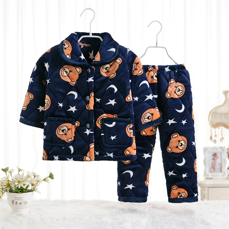 Thicken 2017 New Fashion Kid Sleepwear Set for Kids Children Pajamas for Boys Flannel Warm Children Winter Pjs Sets 2015 new arrive super league christmas outfit pajamas for boys kids children suit st 004
