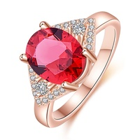 New Fashon Rings Women Noble And Luxury Rose Gold Oval Red Big Crystal Ring Triangle White Cubic Zircon Frienship Jewelry