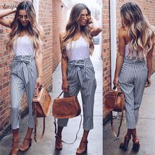 2018 New Striped OL Chiffon High Waist Harem Bowtie Belt Pants Women Stringyselvedge Summer Style Casual Female Trousers