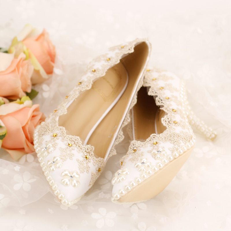 ФОТО Champagne color rhinestone Bridal Shoes High-heeled lace thin Heels Shoes Pumps  pointed toe Women's Shoes Wedding Shoes party