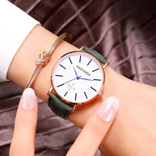 Ultra Thin Dial Women Watch Quartz Modern Creative Leather Strap Casual Round Simple Concise Ladies WirstWatch Reloj mujer