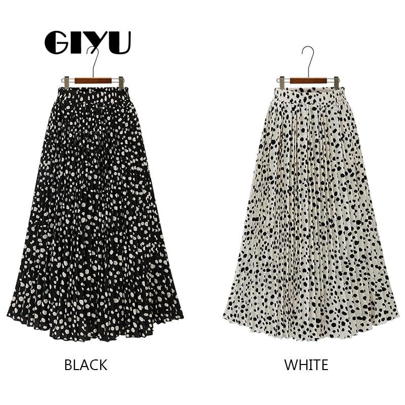 GIYU Free Size Dot Printing Skirts Women Sexy A Line Skirt High Waist Long Female Chiffon faldas mujer moda 2019 in Skirts from Women 39 s Clothing