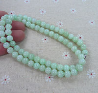 Antique Untreated Natural A Light Green Bead Necklace