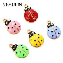 10PCS DIY Jewelry Gold Tone Mixed Color Alloy Enamel Ladybug Bracelet Charms  Necklace Pendants Accessories