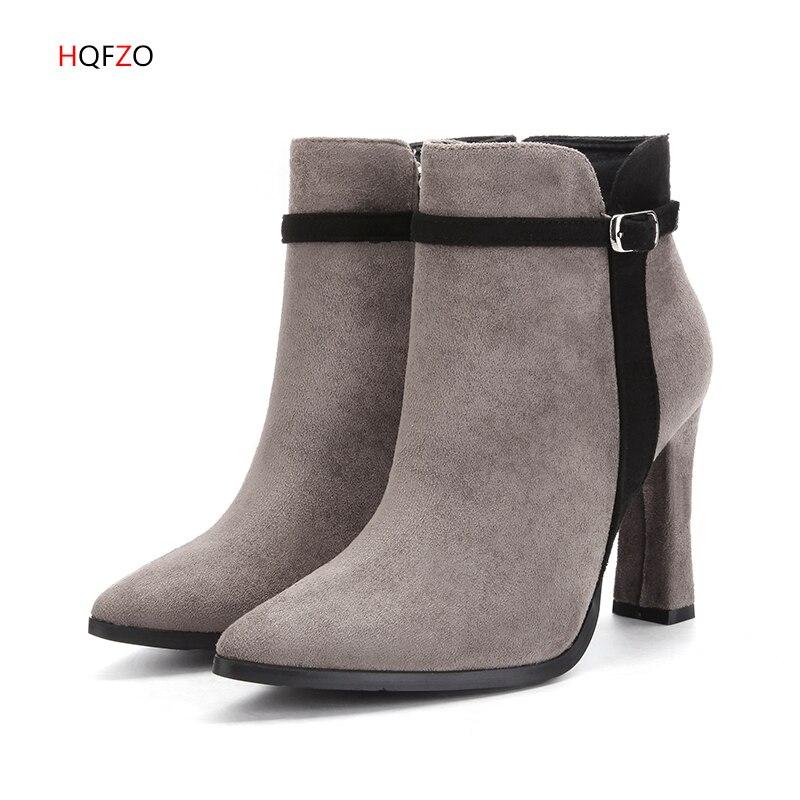 Stivali Punta Hqfzo Alti Autunno Botines Scarpe Black grey Alla Donna  Tacchi Zipper Chaussure Caviglia Flock Nero A Mujer Nuovo ... 8f9899d6ba5