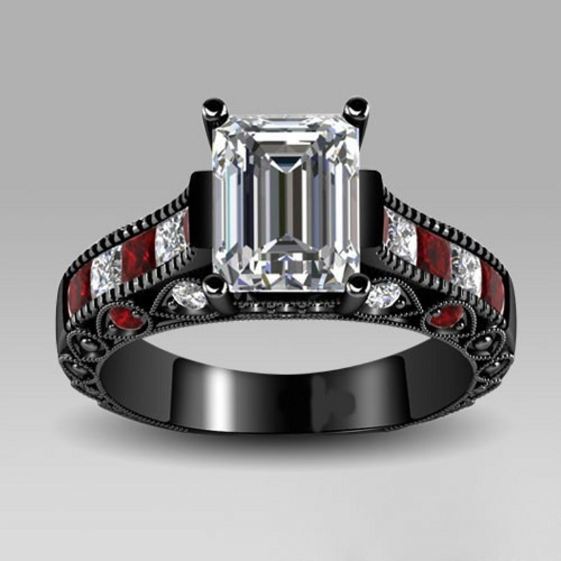 aliexpresscom buy choucong vintage princess cut red 5a zircon stone 10kt black gold filled women engagement wedding band ring sz 5 11 from reliable
