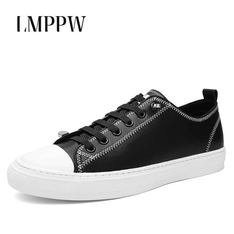 High Quality Men's Casual Shoes Genuine Leather Flats Fashion Breathable Sneakers Black White Soft Moccasins Men Board Shoes 2A 2017 new brand breathable men s casual car driving shoes men loafers high quality genuine leather shoes soft moccasins flats