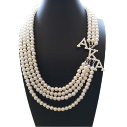 Topvekso Greece Greek Sorority  Fashion White Pearl AKA  Pendant Multilayer Statement Jewelry Long Choker