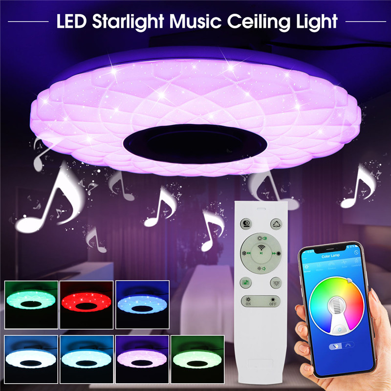 Modern LED Music ceiling lamp Dimmable APP/Remote Control 60W Living room bedroom AC85-265V bluetooth speaker lighting image