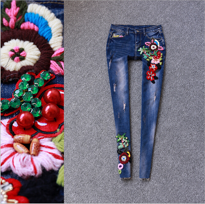 ФОТО Women flowers embroidery denim pencil pants female skinny jeans blue casual trousers capris