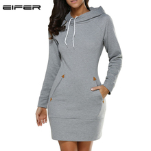 Hooded Pocket Long Sleeved Casual Dress