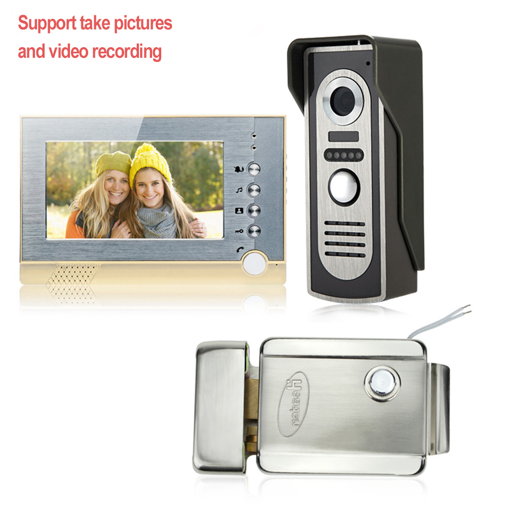 7'' wired color video door phone intercom system support take pictures SD card +IR outdoor camera doorbell with electric lock