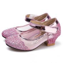 цена на SKHEK Girls Sandals High Heel Sandals Peep-toe Cartoon Princess Children Shoes For Girls Party Sandalias Kids Princess Shoes