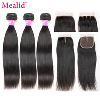 Mealid Brazilian Straight Hair Bundles With Closure Non Remy Human Hair 3 Bundles With Lace