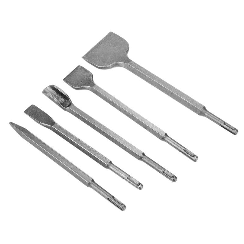 4Pcs Hammer Drill Bits Chisel Set Flat Pointed Mix for Concrete Masonry Brick