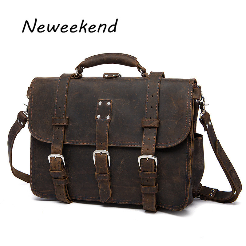 NEWEEKEND 5048 Vintage Genuine Leather Crazy Horse Rivet Buckle Luagge Travel Camera Crossbody Bag for Man neweekend 1005 vintage genuine leather crazy horse large 4 pockets camera crossbody briefcase handbag laptop ipad bag for man