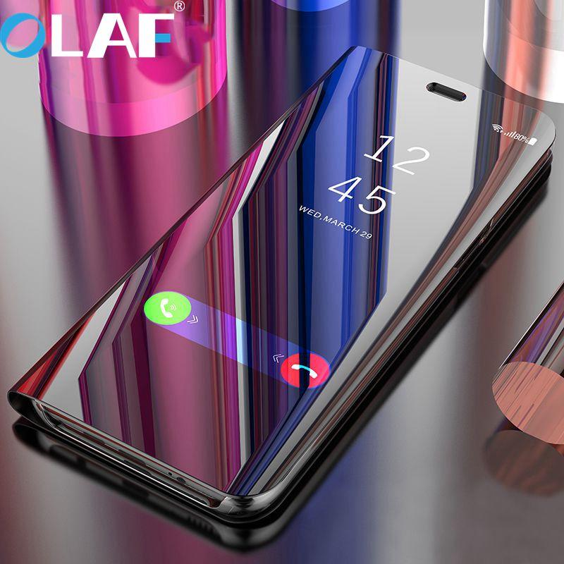 L'olaf Flip Couverture Intelligente En Cuir Puce Cas Pour Samsung Galaxy S8 Plus S8 Note 8 G950F G955F N950F Téléphone Cas Clear View couverture