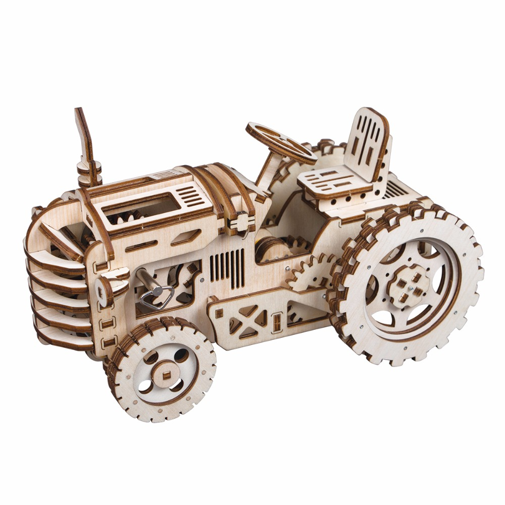 Robotime DIY Hand Crank Gear Drive Tractor 3D Wooden Model Building Kits Toys Hobbies Gift For Children Adult LK401