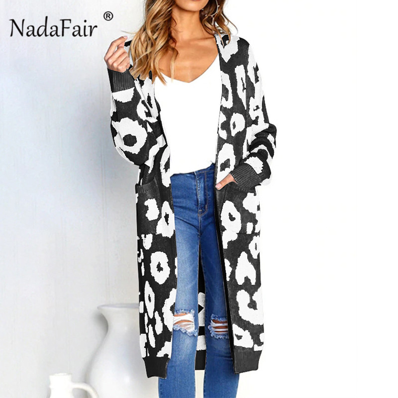 Nadafair leopardo estampado chaquetas invierno ropa de las mujeres abierta de punto de otoño bolsillos slim casual chaqueta de suéter plus tamaño