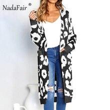 3df8727ba4764a Nadafair luipaard print lange vesten winter kleding vrouwen open stitch  herfst zakken slim casual gebreide trui