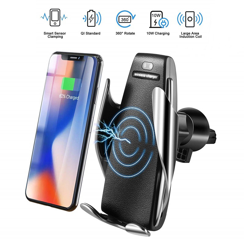 Dragon Honor Automatic Clamping Smart IR Sensor Car Mount Phone Wireless Charger Holders Rack Silver