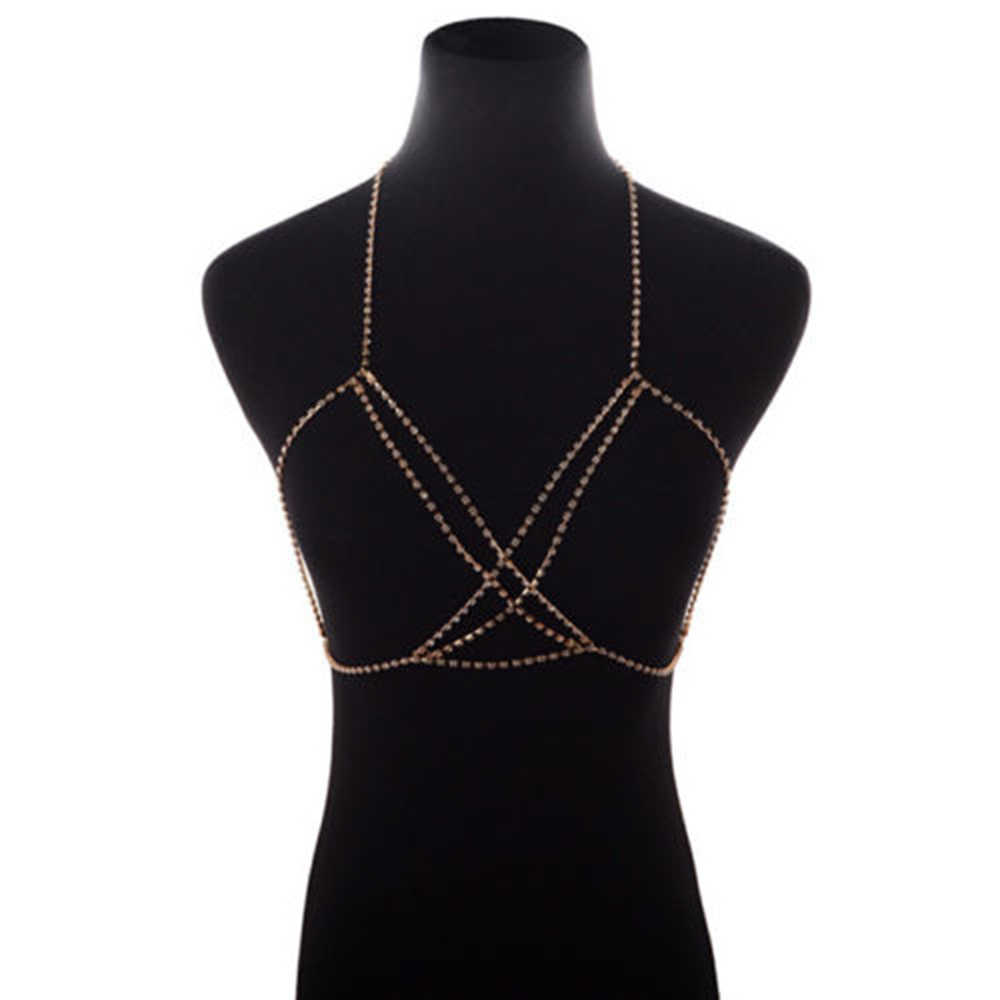Hot Sale New Sexy Beach Bikini Crossover Silver Gold Color Body Chain Harness Necklace Chest Jewelry for Women