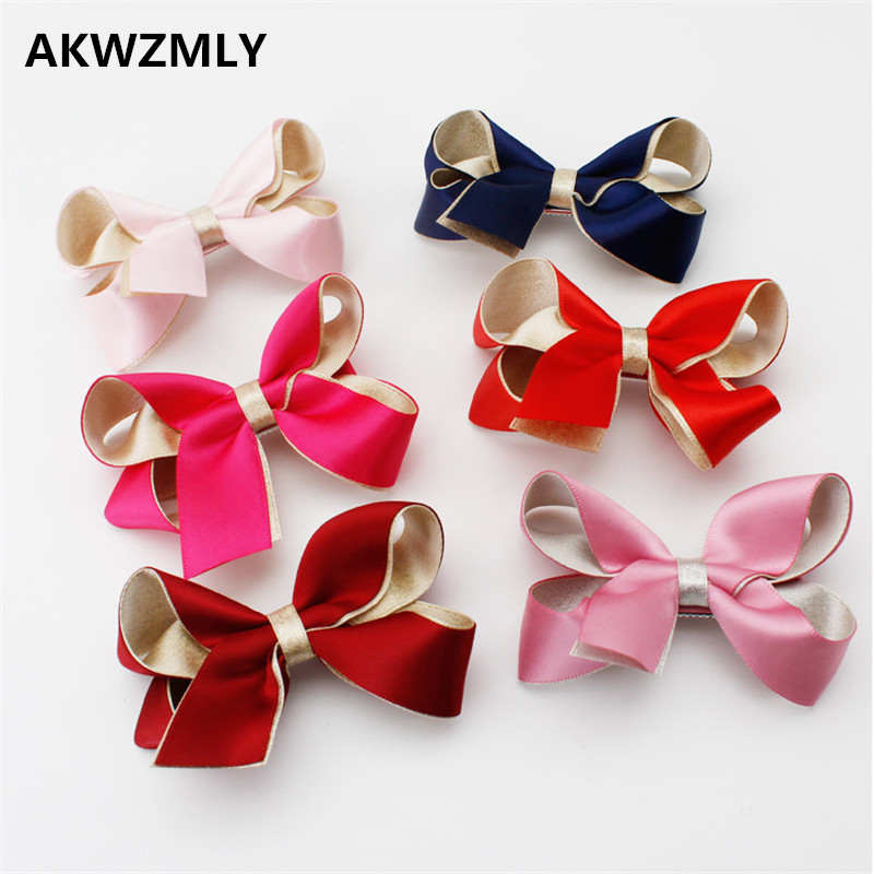 2017 Fashion 1PC 8cm Big Bowknot Hairpin Red Pink Blue Hair Clip Flower Solid Ribbon Hair Accessories Duck Children Girl Gift