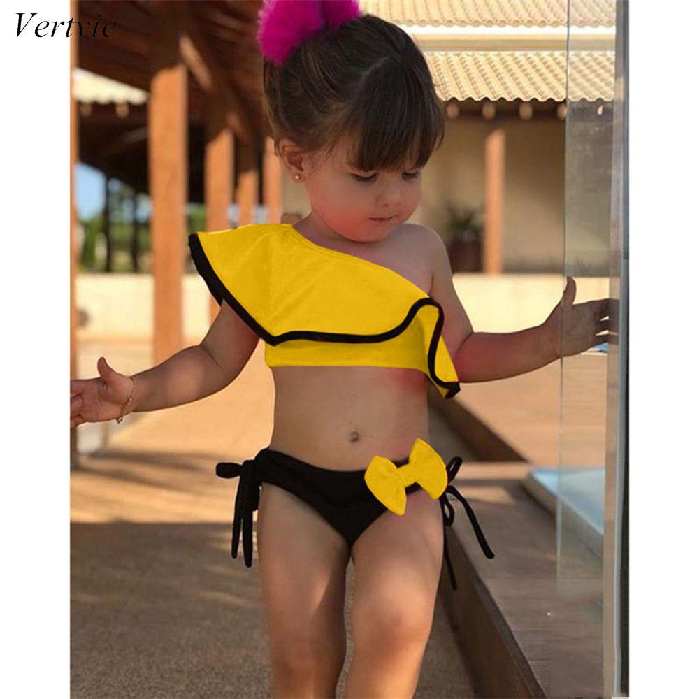 Vertvie 2019 Baby Kids Girl Two Piece Swimsuit Summer Child Swimwear For Water Sports Bikini Swim Dress Beach Bathing Costume