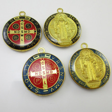 50pcs of Assorted Epoxy 1 inch Round Saint Benedict Medal Pendant