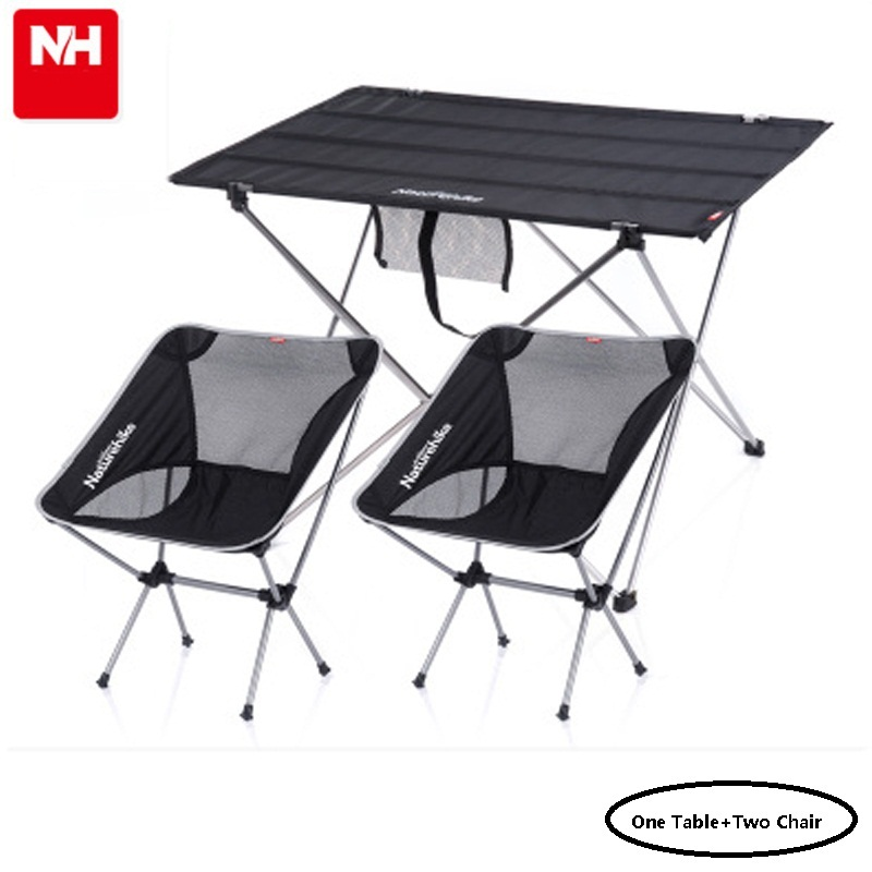 POINT BREAK Naturehike NH15Z012 L Outdoor Folding Tables and Chairs Set Black Large Table Fishing Leisure Chairs*2