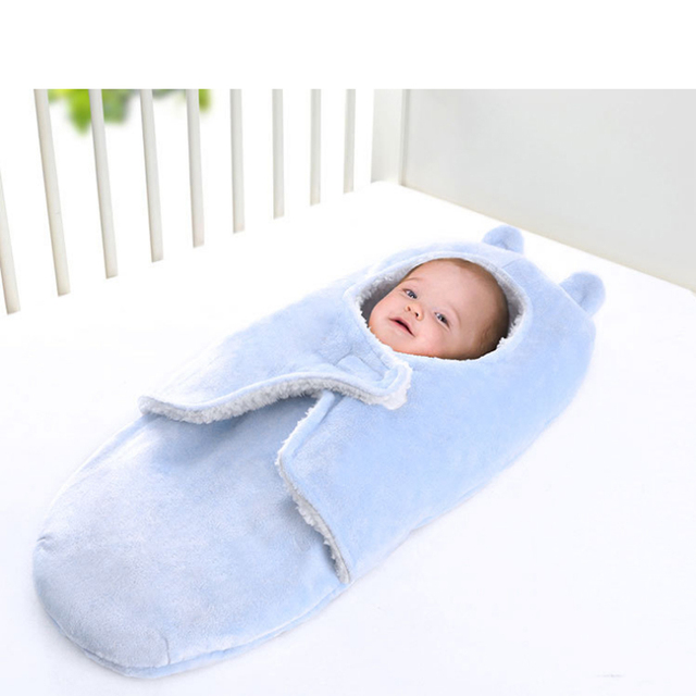 919cbe8ad4 Baby Blanket Envelope Winter Wrap Coral Velvet Blanket Sleeper Infant  Stroller Wrap Quilt Baby Sleeping Swaddle Bag For Newborn