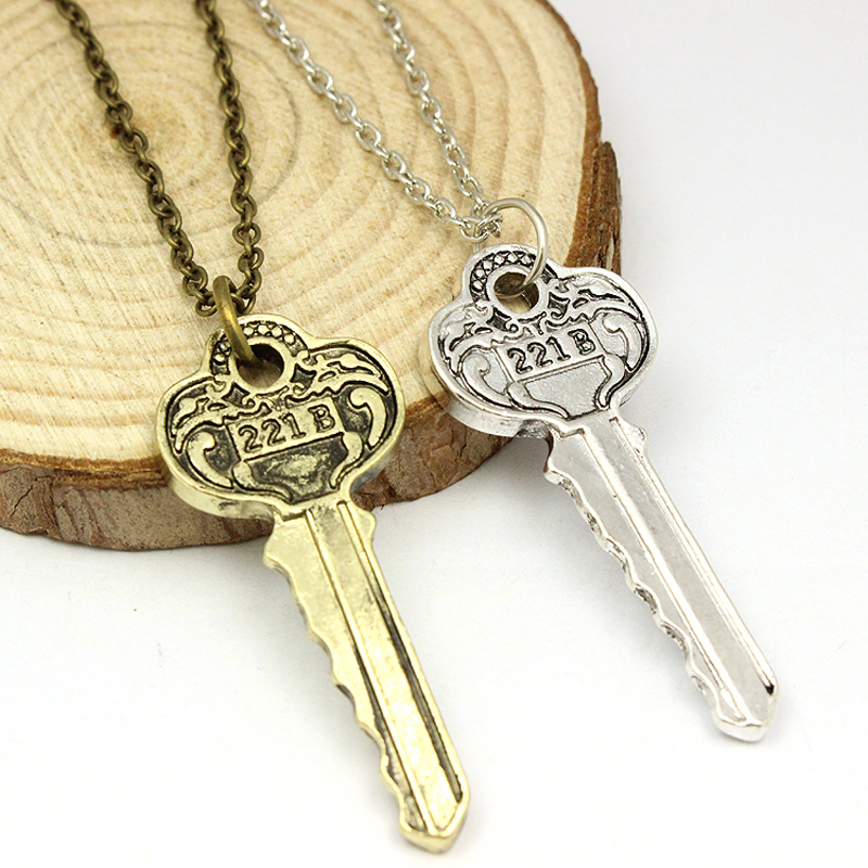 Hot TV Sherlock <font><b>Holmes</b></font> Necklace The Key to 221B A Sherlock Necklace Collier Femme Collares Mujer Kolye Moive Jewelry