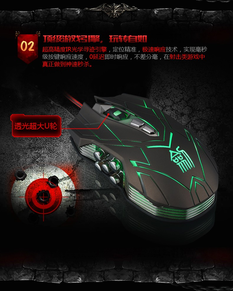 Hongsund NEW Suzaku II Gaming mouse+800/1200/1600/2400 DPI +USB 3D Professional Competitive Gaming 9 Buttons Mice 30
