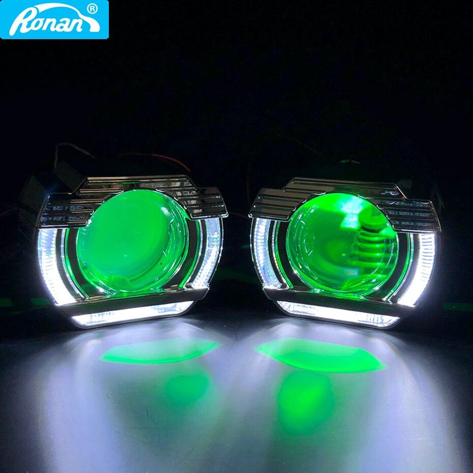 Ронан 2,5 Биксеноновые проекторные линзы MH1 светодиодный DRL глаза ангела кожухи для vw H4 H7 стайлинга автомобилей лампы модернизации DIY