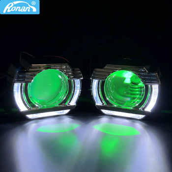 Ronan 2.5″bi xenon projector lens MH1 LED DRL angel eyes shrouds for vw H4 H7 Car Styling Bulb Retrofit DIY