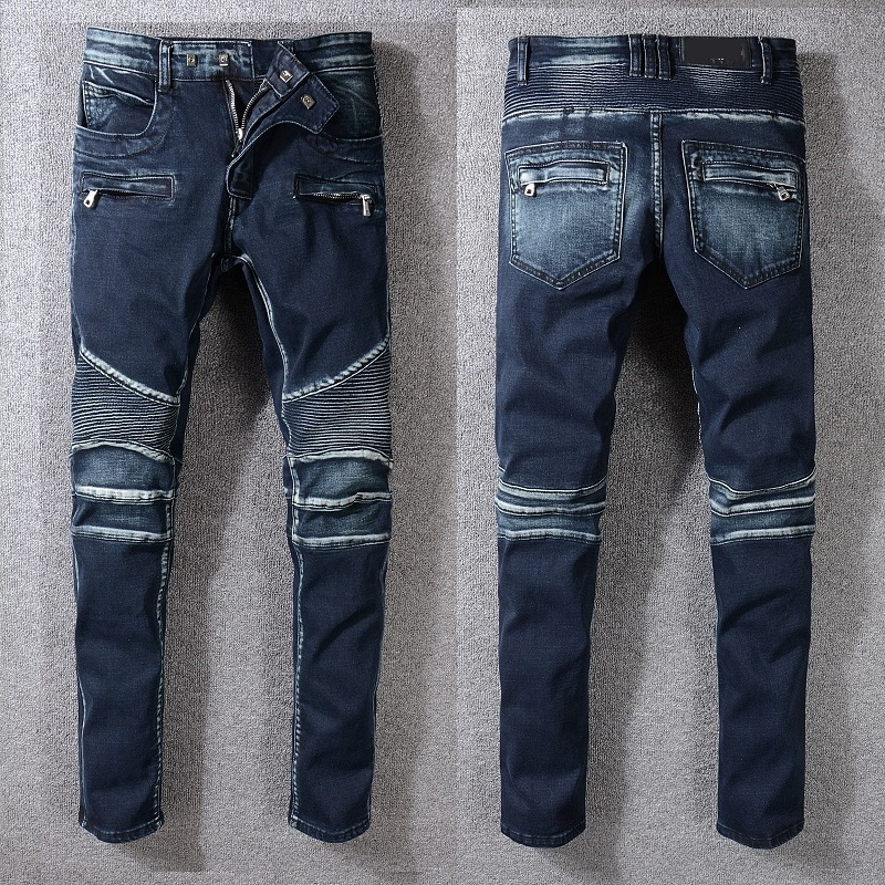 New France Style #1065# Men's Moto Pants Ripped Oiled Washed Blue Skinny Denim Biker   Jeans   Stretch Slim Trousers Size 29-42