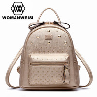 Gold White Black 3 Colors Fashion Leather Motorcycle Backpack Punk Style Rivet Small Women Backpack For