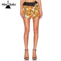 MissKoKo Women Flower Printing Bodycon Shorts Color Block Contrast Skorts Summer Sexy Casual Style Ladies Crop
