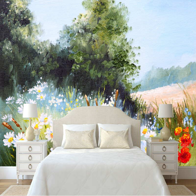 Custom HD Photo Wall Murals Scenery Wall Paper for Living Room Simple Daisy Landscape Murals Home Decor Wall Murals 3D Wallpaper custom photo wallpaper 3d wall murals balloon shell seagull wallpapers landscape murals wall paper for living room 3d wall mural