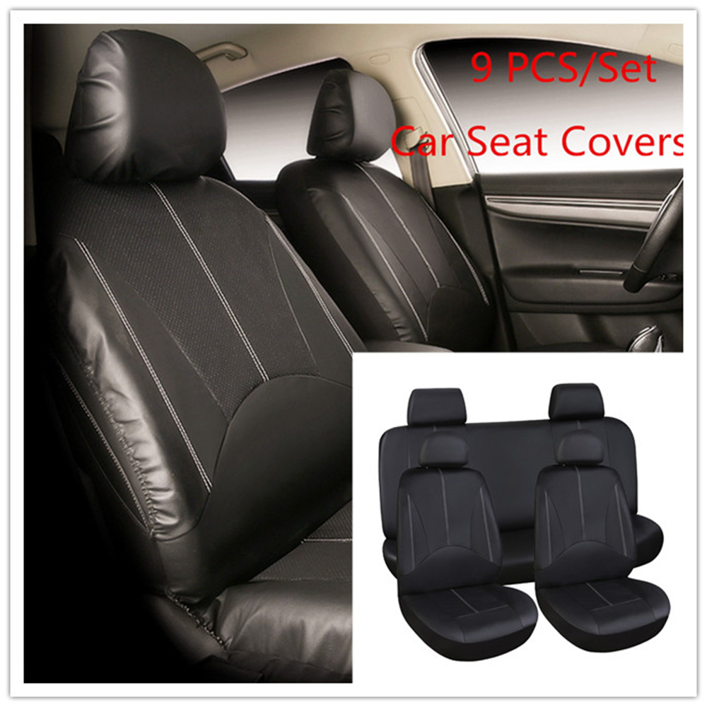 9 PCS Pack Universal Car Seat Cover Leather PU Universal Car Auto Seat Covers Automotive Seat