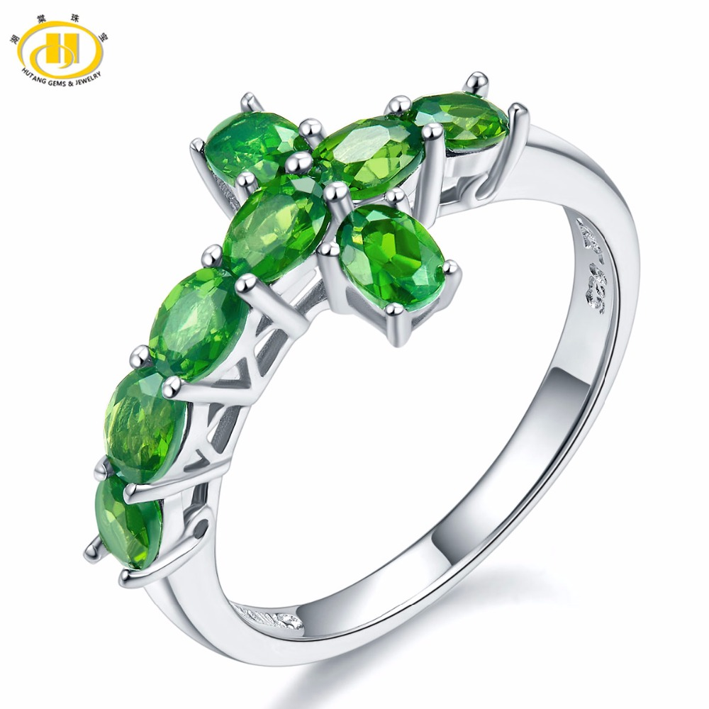 Hutang Natural Chrome Diopside Crosss Ring Solid 925 Sterling Silver Russia Emerald Vivid Green Gemstone Fine Jewelry For Women exquisite gemstone embellished vivid alloy finger ring for women