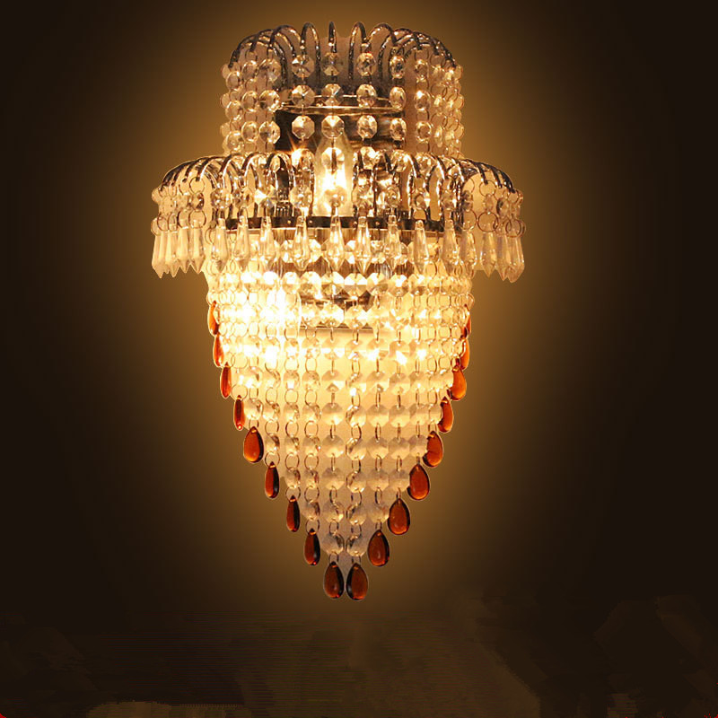 ФОТО 1 piece Golden crystal wall lamp without switch/ Europe type corridor lamps and lanterns decorate/ Simple household lighting
