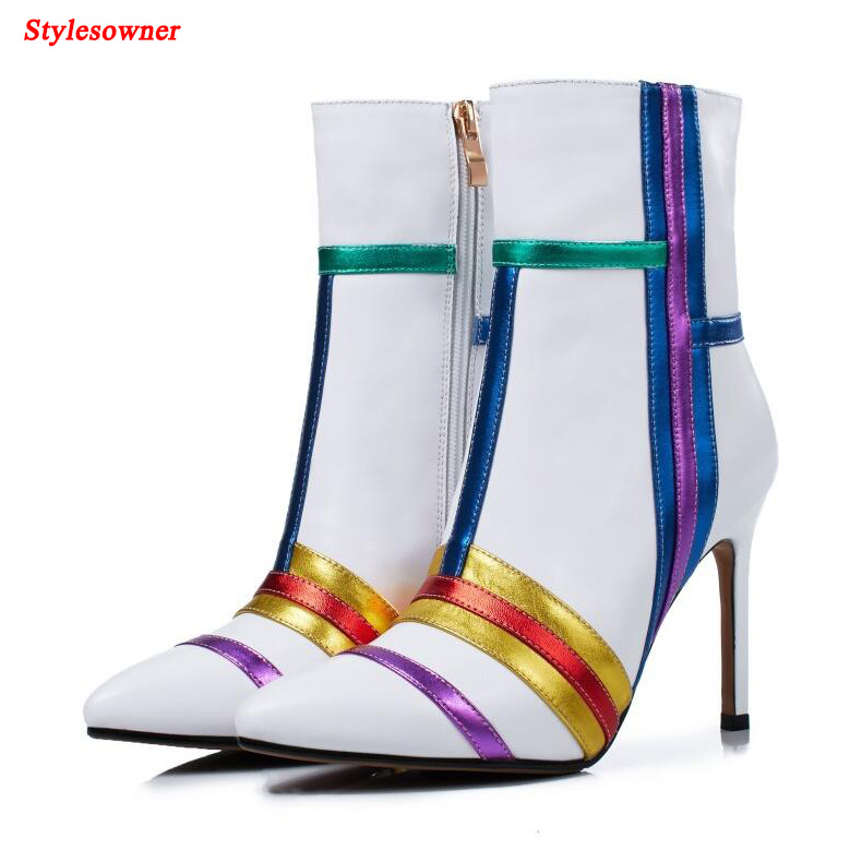Stylesowner Fashion Real Leather Women Mid-Calf Boots Mixed Color Zips Pointed Toe High Thin Heeled Elegant Ladies Shoes Spring 2015 retro elastic band rivets height increasing pointed toe platform 2 colors real leather mid calf boots women outdoor shoes